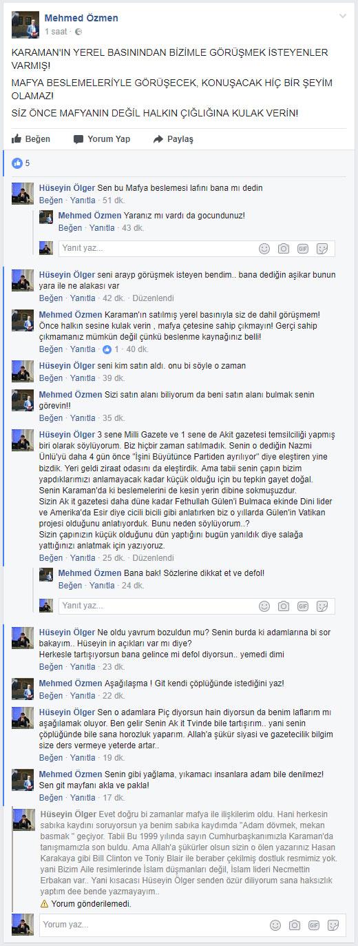 Mehmet Özmen, Hüseyin Ölger'i engelledi