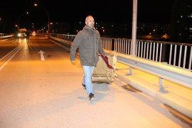 Köprü üzerinde şüpheli valiz alarmı