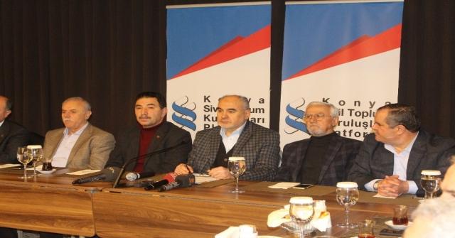 Konya Sivil Toplum Kuruluşları Platformundan Zeytin Dalı Harekatına Destek