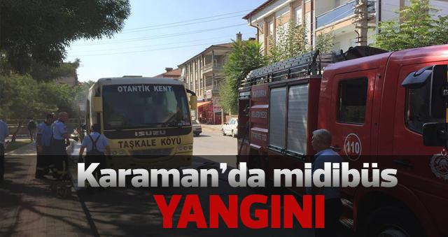 Karaman'da midibüs yangını