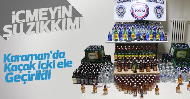 Karaman'da çok sayıda kaçak içki ele geçirildi