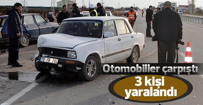 Karaman'da otomobiller çarpıştı: 3 yaralı