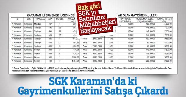 SGK Karaman'da ki Mülklerini satışa çıkaracak