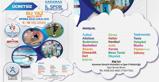 Karaman'da, Ücretsiz Yaz Spor Okulları Kayıtları Başladı