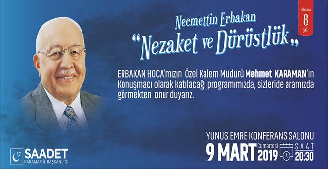 Necmettin Erbakan'ın Özel Kalem Müdürü Karaman'a Geliyor