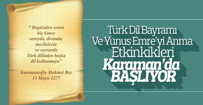 Türk Dil Bayramı Ve Yunus Emre'yi Anma Etkinlikleri Başlıyor
