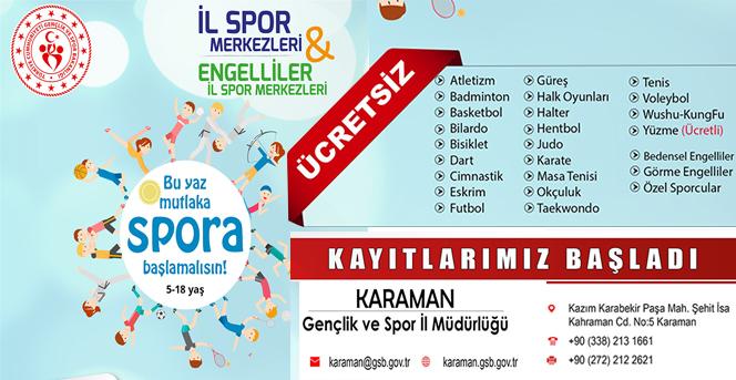Karaman'da Ücretsiz Yaz Spor Okulu Kayıtları Başladı