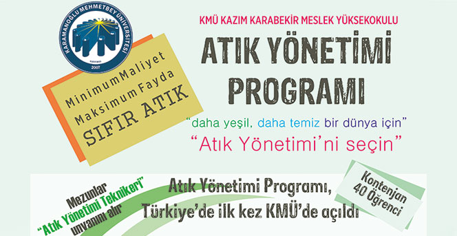 KMÜ,  Atık Yönetimi Programına Öğrenci Alacak