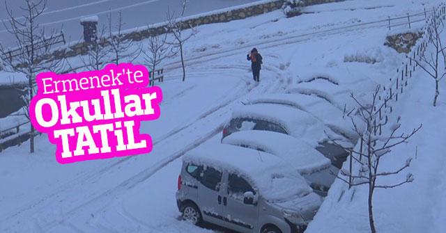 Karaman'ın Ermenek ilçesinde eğitime kar engeli