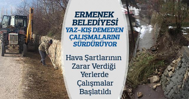 Ermenek Belediyesi Yaz-Kış Demeden Çalışmalarını Sürdürüyor