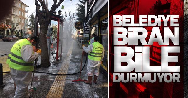 Karaman Belediyesi sokakları yıkıyor