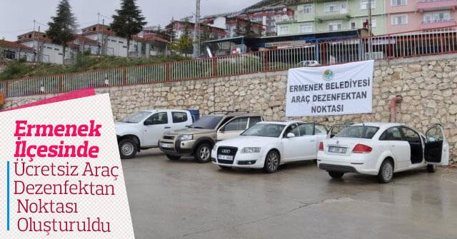 Ermenek İlçesinde Ücretsiz Araç Dezenfektan Noktası Oluşturuldu