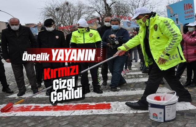 Karaman'da yaya geçidine kırmızı çizgi çekildi