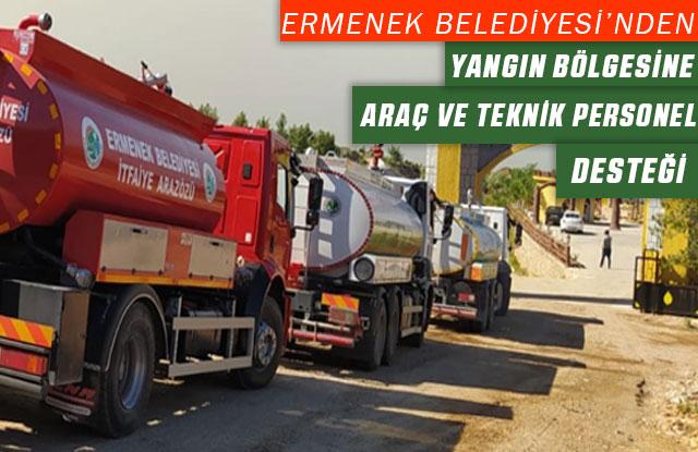 Ermenek Belediyesi'nden Yangın Bölgesine Araç Ve Teknik Personel Desteği