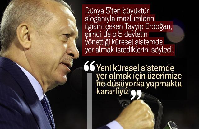 Erdoğan kürüsel sistemde yer almak istediğini açıkladı.