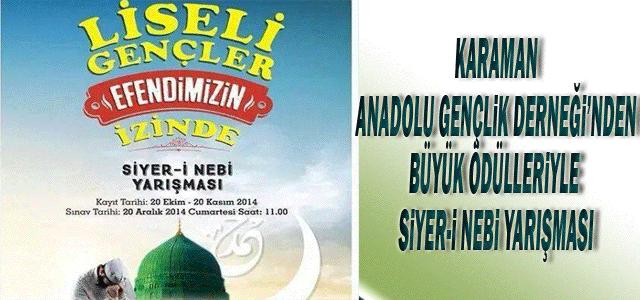 Karaman Anadolu Gençlik Derneği'nden Büyük Ödülleriyle Siyer-İ Nebi Yarışması