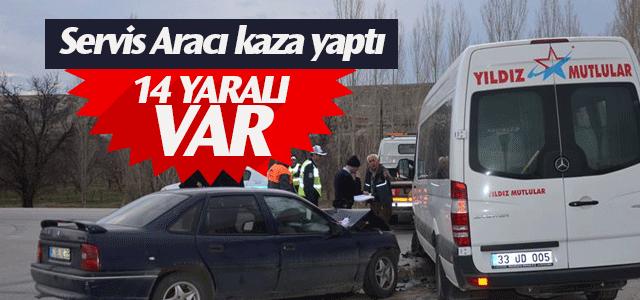 Karaman'da servis aracı kaza yaptı 14 yaralı var