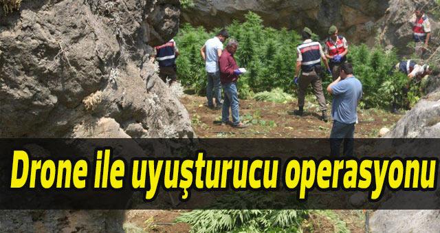 Karaman'da iha ile uyuşturucu operasyonu
