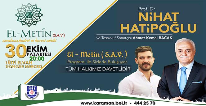 İlahiyatçı Yazar Prof. Dr. Nihat Hatipoğlu Karaman'a Geliyor