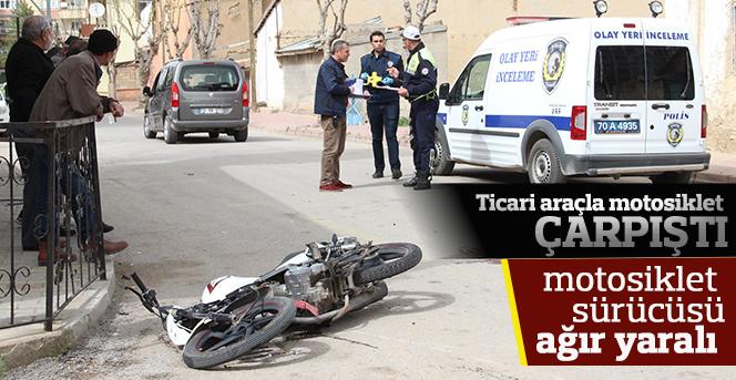 Ticari Araçla Motosiklet Çarpıştı:1 Yaralı