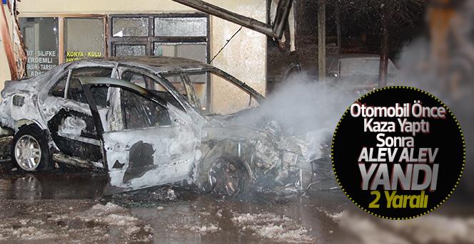 Kaza yapan araç Alev alev yandı