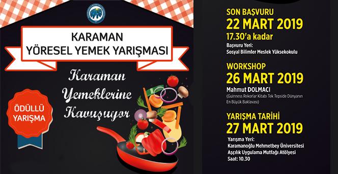 Karaman Yöresel Yemek Yarışması düzenlenecek
