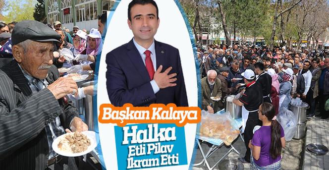 Başkan Kalaycı Halka Etli Pilav İkram Etti
