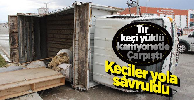 Karaman'da tırla çarpışan keçi yüklü kamyonet devrildi