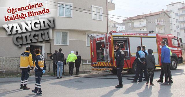 Öğrencilerin kaldığı binanın bodrumunda çıkan yangın korkuttu
