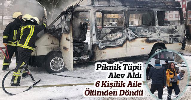 Minibüste yangın çıktı, 6 kişilik aile ölümden döndü