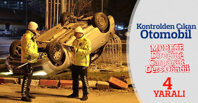 Otomobil MOBESE direğine çarparak ders döndü: 4 yaralı