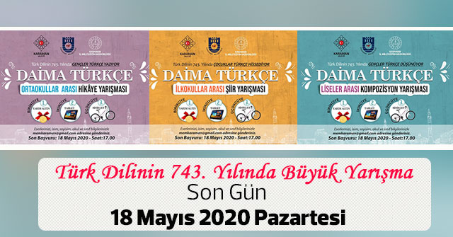 Türk Dilinin 743. Yılında Büyük Yarışma