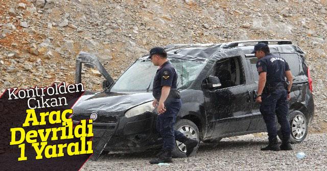 Kontrolden Çıkan Hafif Ticari Araç Devrildi: 1 Yaralı