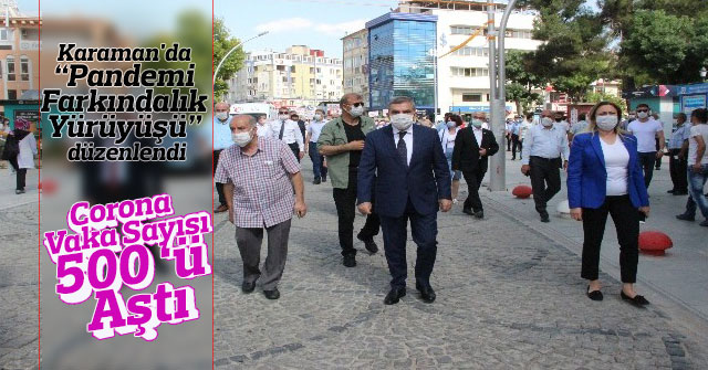 """Karaman'da """"Pandemi Farkındalık Yürüyüşü"""" düzenlendi"""
