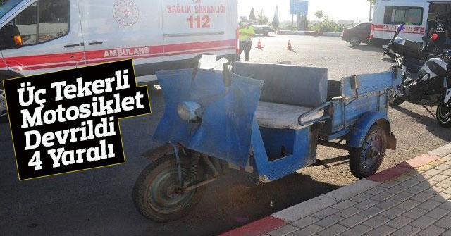 Karaman'da üç tekerli motosiklet devrildi: 4 yaralı