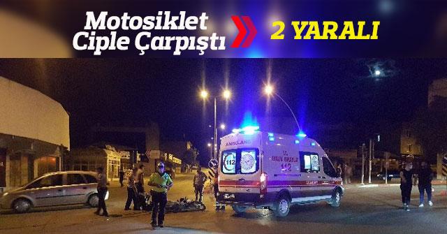 Ciple çarpışan motosikletteki baba ve kızı yaralandı