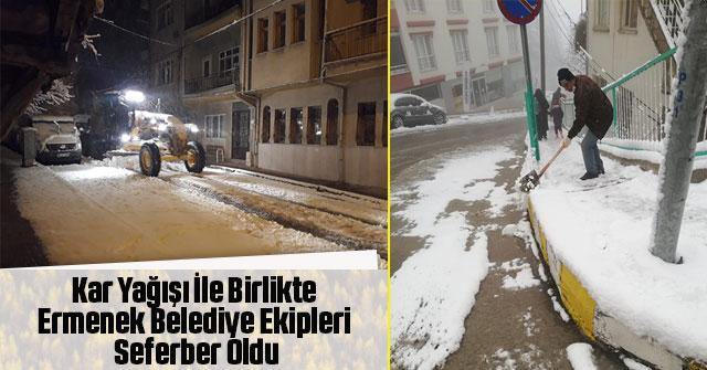 Kar Yağışı İle Birlikte Ermenek Belediye Ekipleri Seferber Oldu