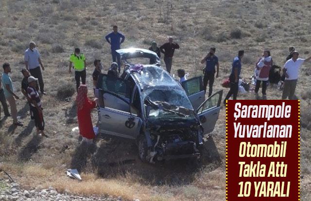 Şarampole Yuvarlanan Otomobil Takla Attı 10 Yaralı